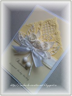 Cream and blue card for sympathy, wedding, or other special moment or event