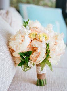 Glorious ruffled peach peony bouquet | peach wedding | www.endorajewellery.etsy.com
