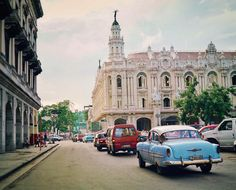 Havana, Cuba. Vintage American cars and the National Ballet Theater.