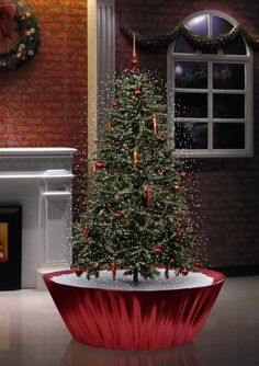 Northlight Seasonal Musical Snowing Artificial Christmas Tree with Red Lights