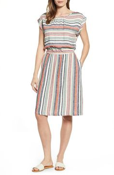 Find and compare Caslon® Stripe Linen Dress (Regular & Petite) across the world's largest fashion stores! Linen Dresses, Linen Skirt, Cotton Dresses, Simple Dresses, Casual Dresses, Short Dresses, Simple Frock Design, Abaya Fashion, Fashion Dresses