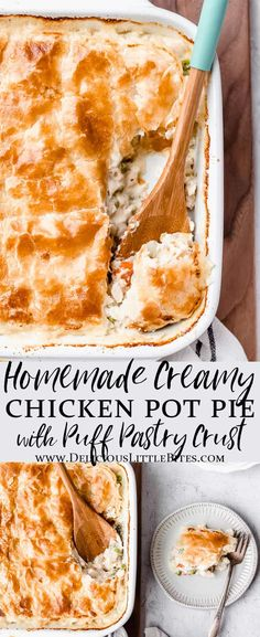 Homemade Creamy Chicken Pot Pie is filled with chicken and veggies in a tarragon cream sauce and topped with flaky puff pastry. This comfort food classic casserole is a family favorite. Enjoy this easy recipe for family dinners and pot lucks.   #chickenpotpie #chickencasserole #puffpastry #chickendinner #dinnerideas