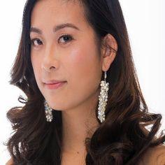 White Pearl, Clear Crystal Cluster Bridal Earrings