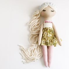 This doll is a Mend by Ruby Grace Original, handcrafted with the highest quality materials. This doll is meant to last a lifetime. Please note there are finished and raw edges used in this desi. Plush Dolls, Doll Toys, Baby Dolls, Doll Crafts, Diy Doll, Rag Doll Tutorial, Handmade Soft Toys, Cute Plush, Sewing Dolls