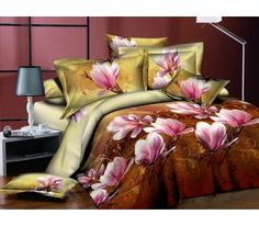 3D Double Bed Linen Set - Flowers 4