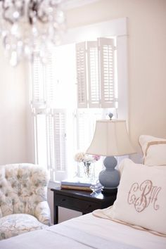 feminine bedroom- pretty monograms