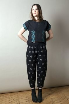Top and trousers in handwoven Fair Trade cotton dhaka fabric from Nepal, from Here Today Here Tomorrow's sustainable womenswear collection