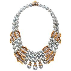 Buccellati Stunning Pearl Diamond Gold Necklace | From a unique collection of vintage beaded necklaces at https://www.1stdibs.com/jewelry/necklaces/beaded-necklaces/