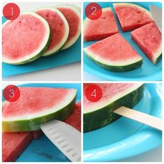 Watermelon on a Stick Directions (summer snacks watermelon) Snacks Für Party, Luau Party, Kid Snacks, Fruit Snacks, Lunch Snacks, Beach Party, Watermelon Sticks, Watermelon Ideas, Watermelon Popsicles