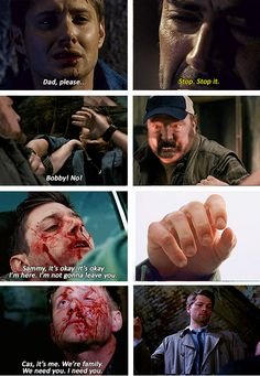 """""""[SET OF GIFS] Four times.  Dean's loved ones have overcome mind control for him four times.  1x22 Devil's Trap, 5x01 Sympathy for the Devil, 5x22 Swan Song, and 8x17 Goodbye Stranger"""" dean is the key to overpowering demons and lucifer"""
