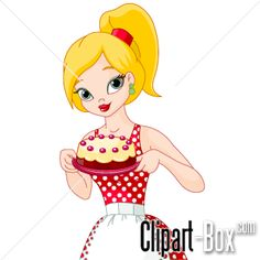 CLIPART GIRL MAKING CAKE