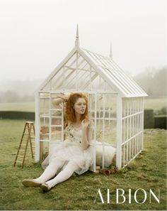 Coco Rocha in a mini greenhouse, photographed by Tim Walker for Albion Cosmetics