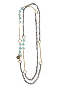 """Look what I found at LizJames.com... Gweneth - Gweneth - oh how    we love thee! Labradorite stones are hand strung on silk cord and accented by    handmade 14kt gold fill rings and chain. Don't forget to check out our    turquoise version as well! 40 1/2""""L"""
