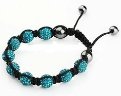 Shamballa Bracelet Turquoise Pave Crystals AMR Collection. $26.50. The bracelet measures about 7 inches.. Shamballa Bracelet Turquoise Pave Crystals. The balls measures 10 mm each.. This Shamballa bracelet showcases 9 turquoise pave crystal balls and 4 Magnetite Beads.. Closure: Adjustable strand.