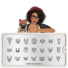 MoYou London Nail Stamping Image Plate - Hipster Collection - 15 - Animal faces