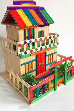 Source by Ice Cream Stick House - Architectural . Source by Diy Home Crafts, Diy Crafts For Kids, Fun Crafts, Art For Kids, Arts And Crafts, Popsicle Stick Crafts House, Popsicle Sticks, Craft Stick Crafts, Resin Crafts
