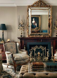 Louis Xiv Antique Mirror Home Decoracion French Country Living Room English Decor