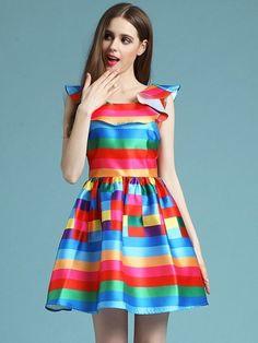 Multicolor Striped Ruffled Sleeveless Dress