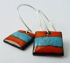 Orange and Turquoise Square Enamel Earrings by enamelstudio, $35.00