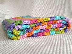 Bright Crocheted Ripple Blanket on Etsy, $45.00