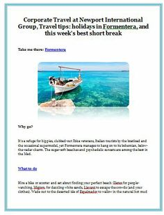 Corporate Travel at Newport International Group, Travel tips: holidays in Formentera, and this week's best short break