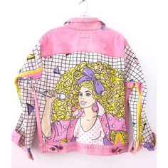 Vintage 80s Pink Levis BARBIE And The ROCKERS Denim Jacket With Gem... (€160) ❤ liked on Polyvore featuring outerwear, jackets, tops, vintage jean jacket, levi jacket, rocker jacket, denim jacket and oversized denim jacket