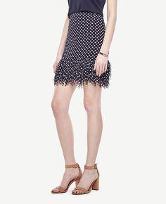 Image of Polka Dot Fringe Skirt