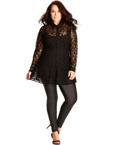 City Chic Plus Size Long-Sleeve Lace Top $79.00 Look lovely in lace with this sheer lace button-down top from City Chic. Pair it with faux-leather leggings for an edgy vibe.
