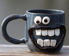 Cool Coffee Cups, Blue Coffee Mug, pottery