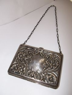 Art Nouveau Sterling Silver Ladies Purse//Antique Silver Handbags by MaisonettedeMadness