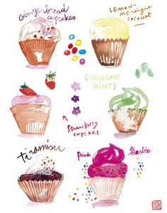 Items similar to Cupcakes Watercolor 8X10 Food art print Kitchen decor Cake Pink Bakery on Etsy