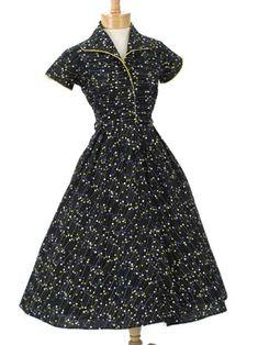 50s Authentic Vintage Blue Floral Full Skirt Dress - Floral prints ...