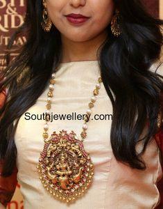Nakshi Balls Mala with Lakshmi Pendant photo #GoldJewelleryIndian