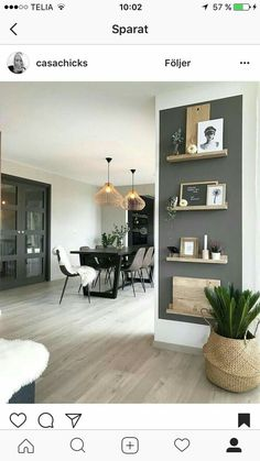 35 Essential Shelf Decor Ideas (A Guide to Style Your Home) bedroom livingroom kitchen decor bracket wall modern floating diy white ideas. Home Living Room, Living Spaces, Living Room Accent Wall, How Decorate Living Room, Living Room Next To Kitchen, How To Decorate Tv Stand, Living Room With Gray Walls, Living Room Decor With Plants, Living Room Wall Colours