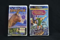 Walt Disney NEW Lot VHS Movies Hunchback Of Notre Dame & Dinosaurs Clam Shells #WaltDisney