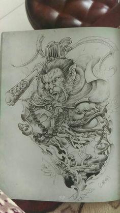 King Tattoos, Body Art Tattoos, Sleeve Tattoos, Cool Tattoos, Moños Tattoo, Beard Tattoo, Japanese Tattoo Designs, Japanese Tattoo Art, Monkey Tattoos