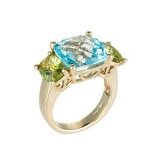 14K Yellow Gold Ring with Blue Topaz & Peridot -  COLOR STORY