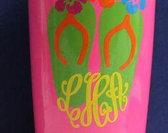 Chevron Flip Flops and Flowers Yeti Tumbler  With Monogram or