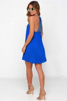 Blue dress - Trapeze Dress - Embroidered Dress - Casual Dress - $49.00