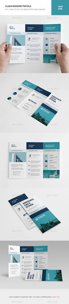 Clean Modern Trifold Brochure Template InDesign INDD