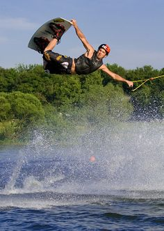 Wake boarding, hurts your back like the dickens, but still fun!