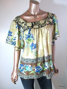 ECI New York Tunic Top sz L Flutter Sleeve Square Neckline Pretty Floral Print #ECINewYork #TunicTop