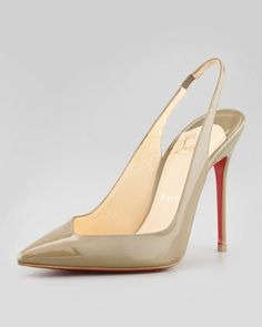 Christian Louboutin Flueve Pointed-Toe Slingback Pump, Grege - Neiman Marcus - BEAUTIFUL. Need these heels in my closet!