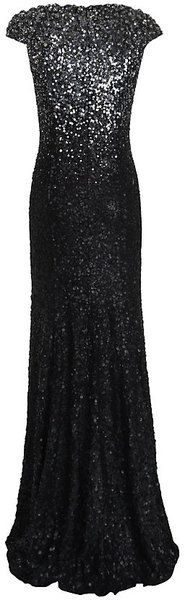Jenny Packham Black Degrade Sequin Gown