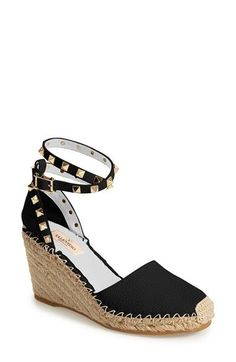 Espadrilles // Free shipping and returns on Valentino 'Rockstud' Wedge Espadrille Sandal (Women) at Nordstrom.com. Pyramid studs boldly detail a warm-weather favorite in lavishly textured leather. Valentino's espadrille wedge features braided jute detailing for a breezy, ever-chic finish.
