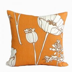Thom Filicia Poppyfield by Kravet Fabric by PillowsByDwellissimo Orange Pillow Covers, Orange Pillows, Floral Pillows, Thom Filicia, Floral Prints, Throw Pillows, Contemporary, Pattern, Felicia