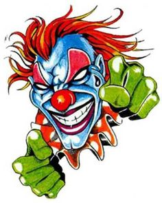 Psycho maniac clown is ready to fight with the fists of fury and violence. Scary Clown Face, Clown Faces, Joker Drawings, Dark Art Drawings, Evil Clowns, Scary Clowns, Lowrider Drawings, Takashi Murakami Art, Evil Clown Tattoos