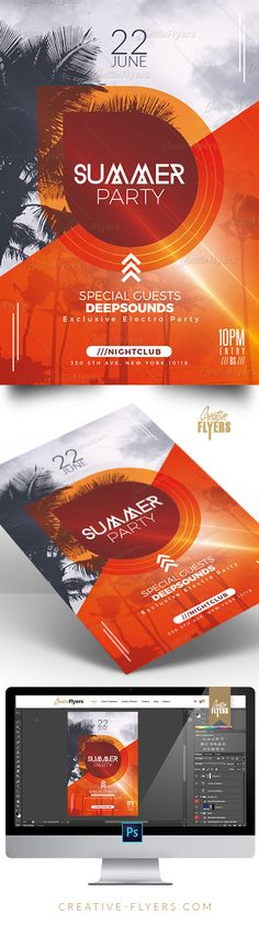 Creative Summer Party Flyer - Enjoy downloading the Premium Photoshop PSD Flyer / poster Template designed by Creative Flyers perfect to promote your Summer Party ! #summer #summerparty #minimalist #electro #minimal #flyers #creativeflyers #templates
