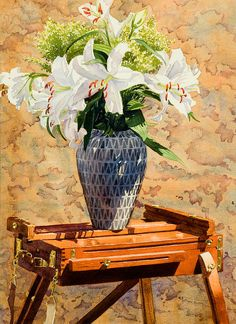 Mary Helmreich   WATERCOLOR    Lilies On An Easel