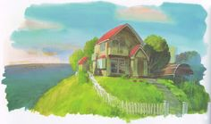Painted study of Sosuke's house, pre-flood. From Ponyo (2008) Background Designs http://livlily.blogspot.hu/2012/04/artworks-of-hayao-miyazaki-films.html